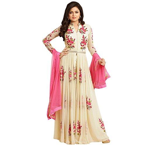 Ethnic Empire Women's Georgette Anarkali Salwar Suit Set (Eeas_Ea10605_Cream_Free Size)
