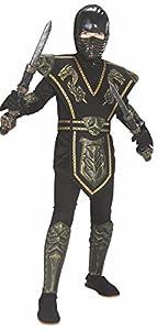 Disfraz de Ninja Dorado enmascarado para niño, infantil 5-7 años (Rubie