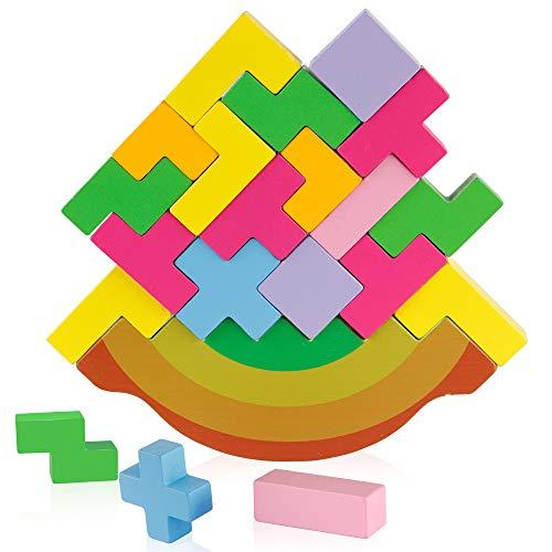 Coogam Holz Balancing Block Spiel Schaukeln und Stapeln Gebäude Puzzle 3D Bunte STEM Montessori Pädagogisches Spielzeug Geschenk für Kleinkind Kinder (21 STÜCKE)