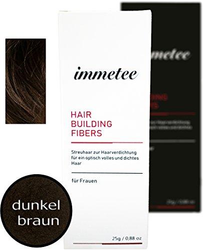 immetee Hair Fibers - Schütthaar - Streuhaar - Premium Hair Fibers - Haarpuder (für Frau, dunkelbraun)
