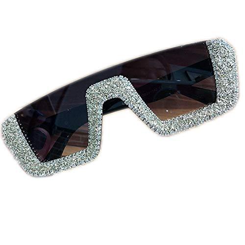 OULN1Y Sport Sonnenbrillen,Vintage Sonnenbrillen,Square Women Designer Sunglasses Ladies Oversized Rhinestone Sun Glasses Men Half Frame Eyeglasses UV400
