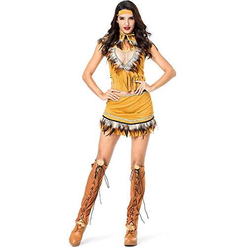 Indian Kostüm Girl Kleinkind - COSOER Indigene Cosplay Kostüm Indische Mädchen Häuptling Kleidung Halloween Prom Kleidung,Yellow-XL