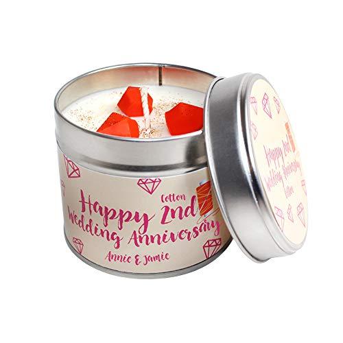 Personalisierte Soja-kerzen (Personalisierter 2nd Hochzeitstag Kerze Dose)