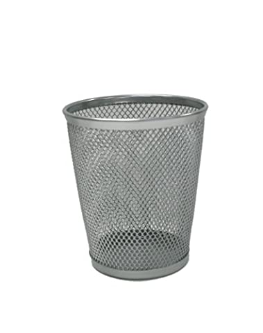Design International Group Mesh Round Pencil Cup, Argent (28512) by