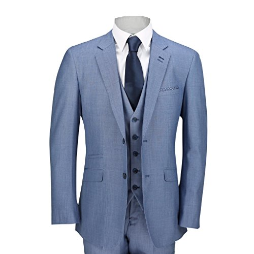 Herren Anzug, Dreiteiler, für Hochzeit, Ball, Party, mit Blazer, Weste, Hose, Himmelblau, blau