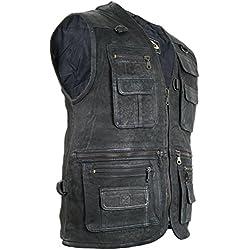 Chaqueta de piel para hombre, chaleco para ocio, chaqueta,chaqueta de caza, de pesca, chaleco para moto chopper, chaqueta rockera, chaqueta de moto. negro Negro extra-large