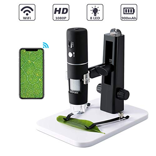 USB WiFi Mikroskop Kamera, ROTEK Mini Mikroskop für Kinder 1000X Zoom 1080P Full HD mit Professionellem Aufzug-Stand, Mikroskop Digital mit 8 LED für Handy iphone ios Android ipad PC Windows, Mac -