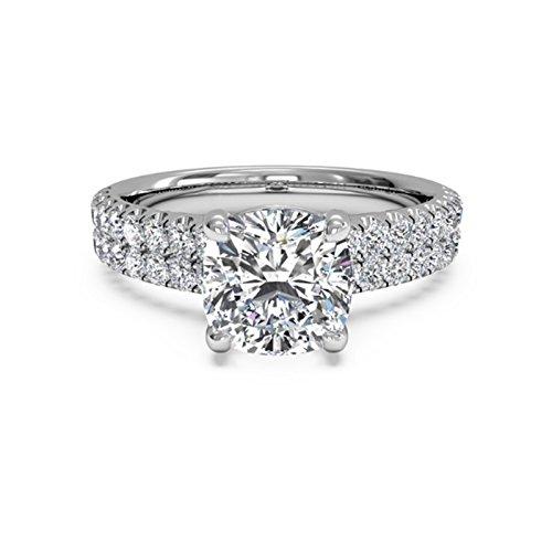 1,60Ct cojín Moissanite diamantes anillo de compromiso 18K oro blanco Tamaño J K L M N O P Q R S