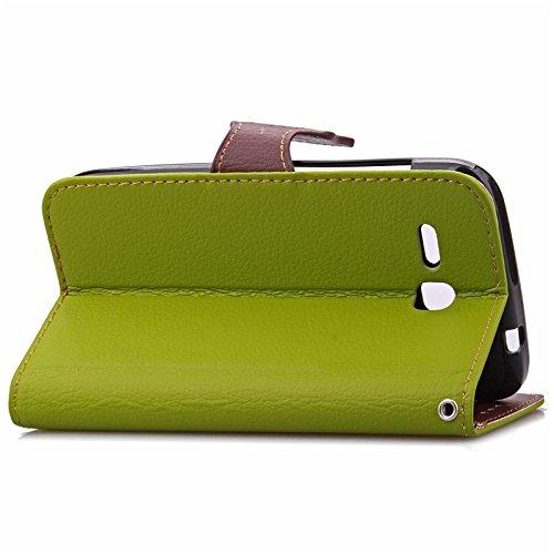 YHUISEN Huawei Y600 Case, Natur Blatt Magnetverschluss Stil PU Leder Brieftasche Flip Case Cover für Huawei Ascend Y600 ( Color : Black ) Green