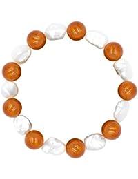 Pulsera de Mujer de Perlas cultivadas de Agua Dulce keshi de 11-13 mm y