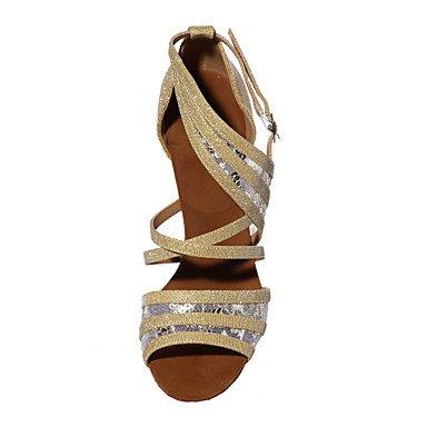 XIAMUO Nicht anpassbar - Die Frauen tanzen Schuhe funkelnden Glitter/Paillette funkelnden Glitter/Paillette Latin/Salsa Sandalen entzündete Ferse Braun