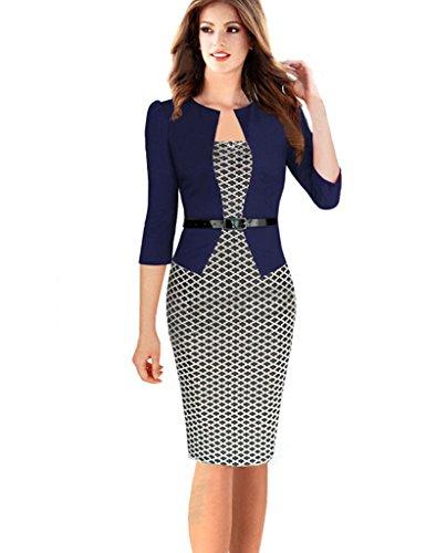 Minetom Damen Hahnentritt Elegant Kleider Business Kleider Abendkleid Etuikleid Casual Knielang Party Dress mit Gürtel Marine 2 DE 46 -