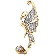 7e5d7747b2e9 TENDYCOCO Ear Clip Rhinestone Crystal Butterfly Ear Cuff Clip Cartílago Ear  Cuff para Mujeres (Blanco