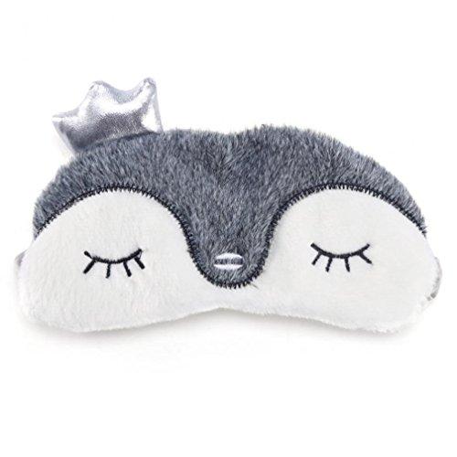 euheit Schlaf, Augenmaske, Augenbinde mit Ohren 3D, Kaninchen, Koala oder Pinguin Gesicht Licht Schlaf Reise Maske Augenbinde (Grauer Pinguin) (Assistent Kostüm Damen)