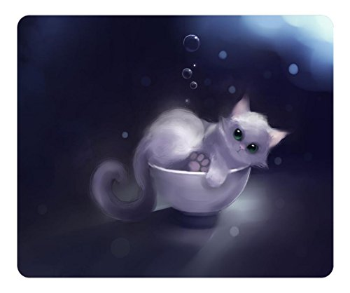 BRAIN114Customized Rectangle non-slip Game mouse pad Special Textured Surface Mousepad White Kitty in a Bowl (Kitty Bowl)