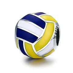 Idea Regalo - Ciondolo rotondo a forma di pallone da pallavolo con strisce bianche, gialle e blu, in argento Sterling 925, per amanti dello sport, idea regalo per festa della mamma, gioielli primaverili