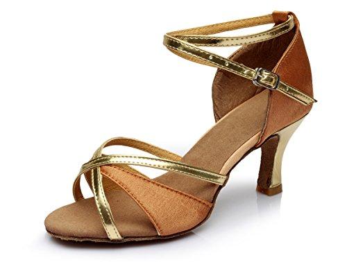 VESI Zapatos de Baile Latino de Tacón Alto/Medio Para Mujer Beige 38(Tacón 5cm)
