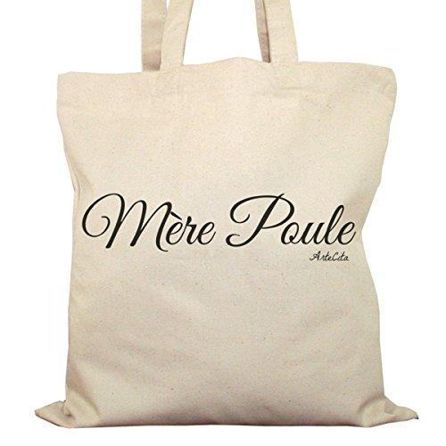 Tote Bag Imprimé Ecru - Toile en coton bio - Mère Poule