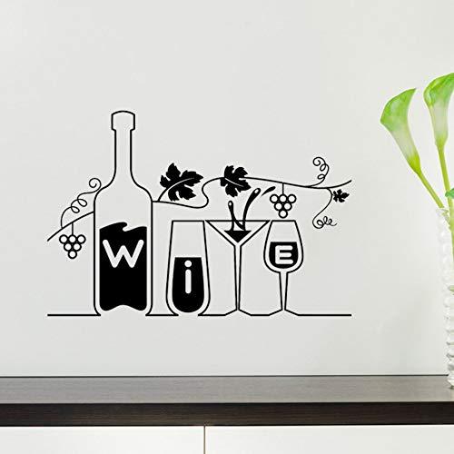 (wuyyii 57x38 cm Wein Vinyl Aufkleber Drink Bar Restaurant Küche Trauben WandaufkleberA)