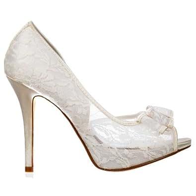 Onlineshoe Peep Toe chaussures de mariée mariage - Dentelle prise avec Bow - Ivory Lace Mesh UK 8 - EU41