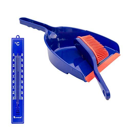 Lantelme Gummibesen Kehrgarnitur Analog Thermometer blau Set Handfeger Schaufel 6092