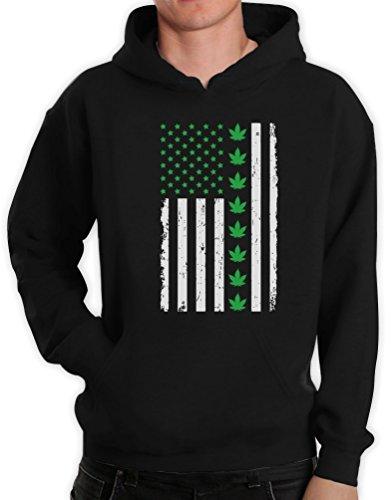 Green Turtle T-Shirts Präsentidee US Flagge mit Hanfblatt Motiv Kapuzenpullover Hoodie X-Large Schwarz
