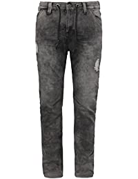 URBAN SURFACE Herren Sweat-Jeans im Destroyed & Repaired Look | Graue Hose aus bequemen Sweat in Jeansoptik