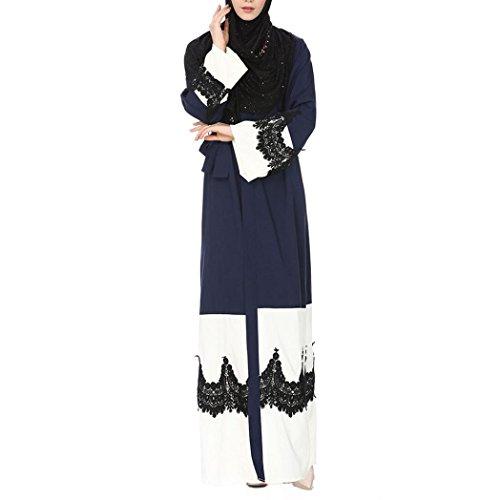 Tragen Sie Kaftan (Kimono Robe Muslim Damen Lose Vorne Offene Spitze Jilbab Muslimischen Islamischen Kaftan Maxi (M, Marine))