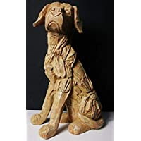 HomeZone® Large 35cm Rustic Wood Effect Sitting Labrador Dog Sculpture Driftwood Home Garden Ornament Lawn Statue Weatherproof Polyresin Material.
