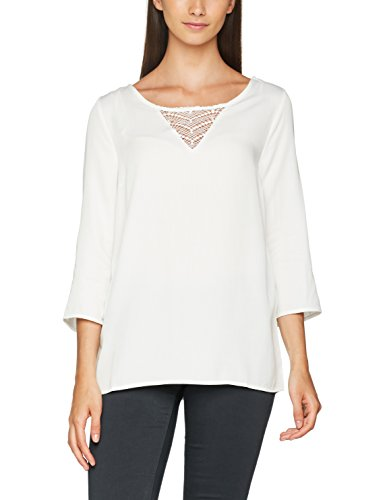 VILA CLOTHES Damen Langarmshirt Visommi 3/4 Sleeve Lace Top-Noos, Weiß (Snow White), 40 (Herstellergröße:L) (Sleeve Top White 3/4)