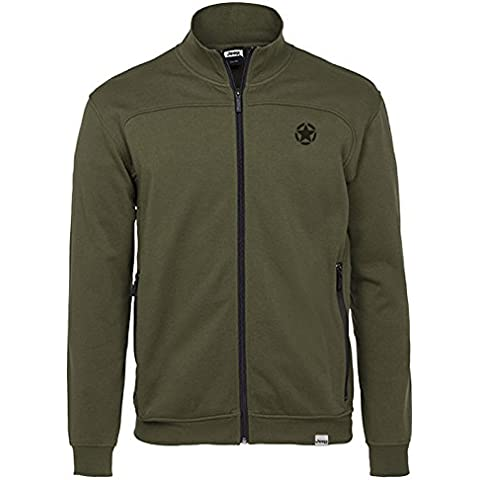 Jeep Man Brushed Fleece Sweatshirt Full Zip W/Zp Felpa in Pile, Dark Green/Dark Grey, L