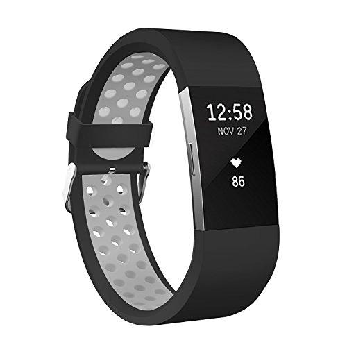 Fitbit Charge 2 Armband, Sportfun Weiches Silikon Sportarmband Ersatzarmband verstellbares Uhrenarmband für Fitbit Charge 2(Größe L) (08)