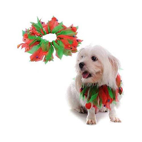 Jadeyuan Kostüm Haustier-Hundeweihnachtsfarbband-Kragen Grenzüberschreitender E-Commerce-Hundekleidung Haustier-Weihnachtsversorgungs-Kragen Halloween-Band-Hals-Hundeweihnachtshut Lätzchen Bekleidung