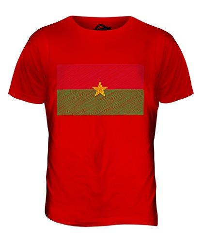 CandyMix Burkina Faso Bandiera Scarabocchio T-Shirt da Uomo Maglietta Rosso