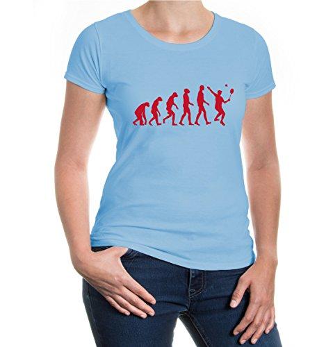 buXsbaum® Girlie T-Shirt The Evolution of badminton Skyblue-Bordeaux