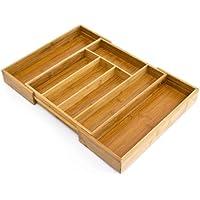 Relaxdays Besteckkasten Bambus, ausziehbarer Besteckeinsatz als Küchenorganizer, Schubladeneinsatz HBT: 5x48x34cm, natur