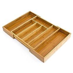 Relaxdays Besteckkasten Bambus, ausziehbarer Besteckeinsatz als Küchenorganizer, Schubladeneinsatz HBT: 33,5x29-45x5cm, natur