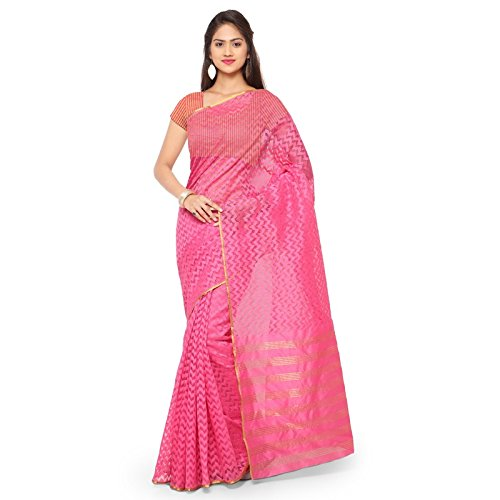 Janasya Women's Pink Woven Jacquard Net Saree - JNE1765-SR-TD1048RN  available at amazon for Rs.1149