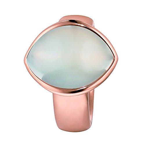 XEN Ring mit großem weißen Navette- Chalzedon rosè vergoldet 58 (18.5)