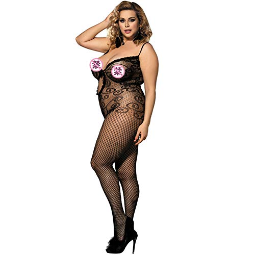 Damen Fishnet Bodystockings Dessous Crotchless Bodys Strumpfhosen Hosenträger Schwarz (Tights Fishnet Suspender)