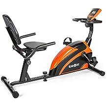 Klarfit Relaxbike 5G bicicleta estática (ordenador de entrenamiento, montaje rápido, resistencia regulable, 100 kg de carga máxima) - negro naranja