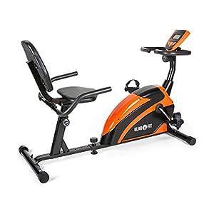 Klarfit Relaxbike 5G ergometro cyclette sdraio ergometro cardio Hometraining resistenza regolabile 8 stadi regolatore da polso Disply LCD grosso resistenza max. 100 kg nero-arancio