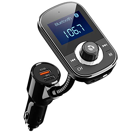 CHGeek Bluetooth FM Transmitter, 5V/5.4A QC 3.0 Auto Bluetooth Adapter mit Spannungsanzeige, Auto MP3 Player unterstützt 3 Spielmodus und Freie Wahl der Lieder für alle Android und iOS - FT1003