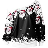 Reooly Sudadera con Cuello Estampado Feliz Navidad Santa Claus XL para Mujer