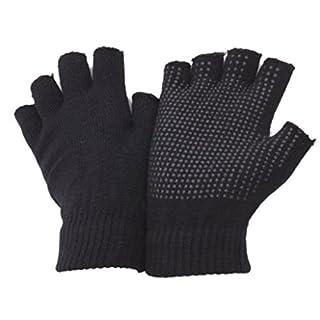 2 x Pairs Adults Black Fingerless Gripper Gloves - One Size, men or women