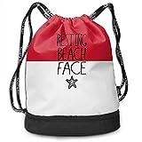 ewtretr Sacs à Cordon,Sac à Dos Unisex Drawstring Backpack, Resting Beach Face...