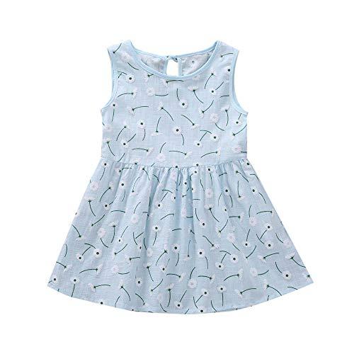 Kleinkind Baby Mädchen Kleid Blumenmuster Rundhals Ärmellos Kleid Urlaub Sommerkleid Prinzessin KIMODO Kleidung Outfit
