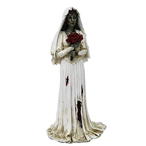 Zombie Veiled Bride with Red Rose Bouquet Resin Statue Figurine by PTC