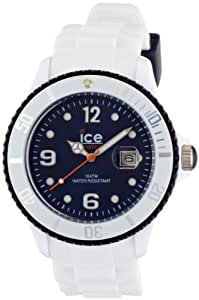 ICE-Watch - Montre Mixte - Quartz Analogique - Ice-White - White - dark blue - Big - Cadran Bleu - Bracelet Silicone Blanc - SI.WB.B.S.11