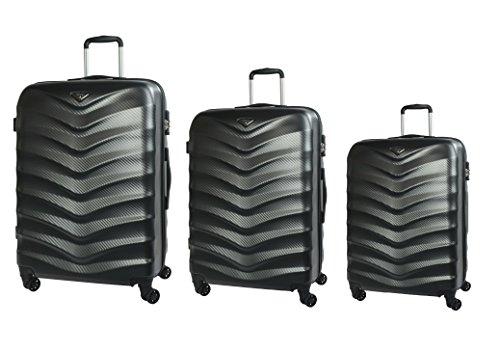 """Verage Seagull Koffer Dazzling Black 3er Set S-48cm(19"""")+M-61cm(24"""")+L-71cm(28"""") Erweiterbar Trolley Suitcase Reisekoffer Spitzenmarken-Qualitätsware ABS+PC,4 Doppelräder,TSA Schloss"""